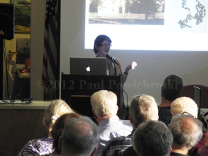 Jane Lyons speaking at the book signing