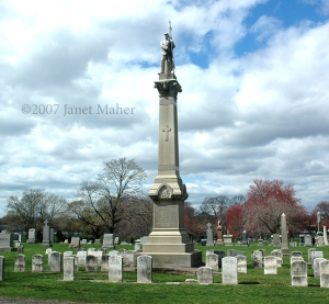 Civil War Monument and Headstones, Saint Bernard Cemetery, New Haven, CT ©2007 Janet Maher